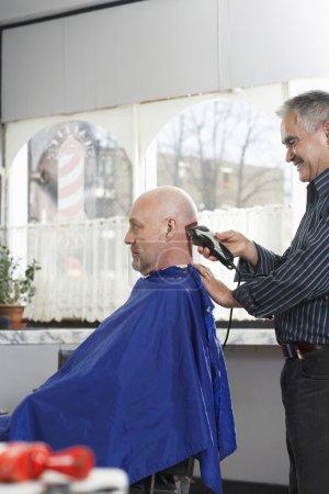Barber shaving  head