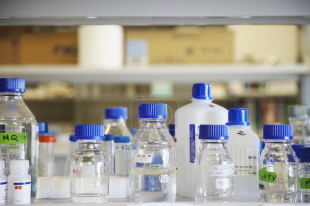Bottles of chemicals on laboratory