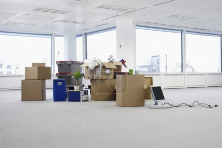 Cartons and equipment on floor