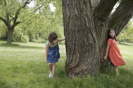 Girls Playing Hide-and-Seek