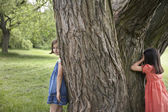 Girls Playing Hide-and-Seek