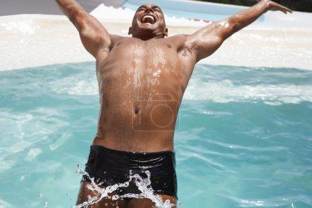 Man  diving backwards