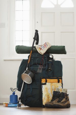 Backpack and camping equipment