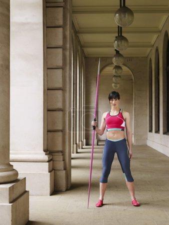 female javelin thrower training in Arcade