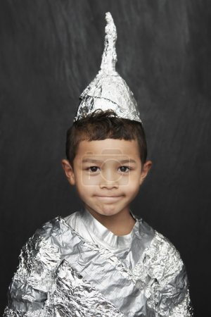 little boy in foil knight costume