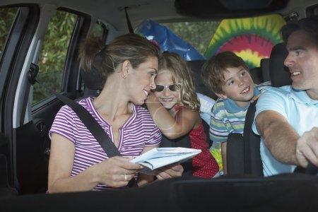 Family  talking in car