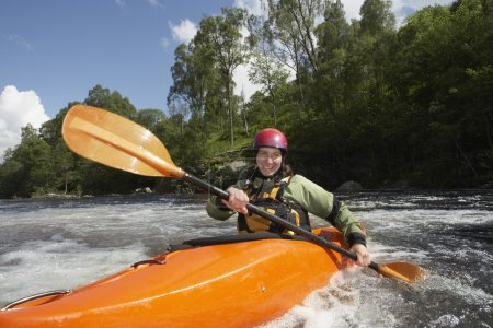 Photo for Whitewater Kayaker on River - Royalty Free Image