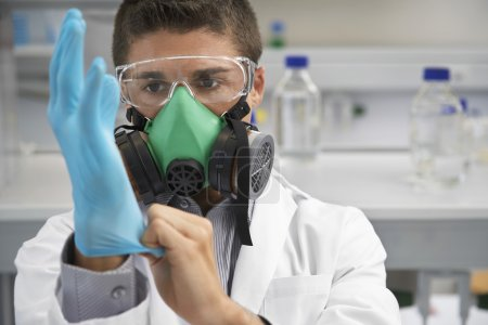 scientist with Mask and gloves