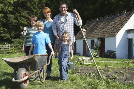 Family Gardening in Backyard
