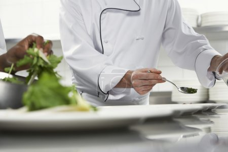 Chefs preparing salad in kitchen