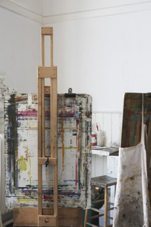 Easel and canvas in studio