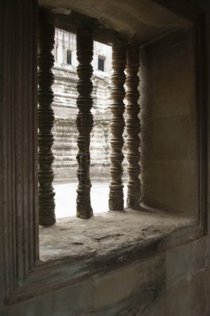 Photo for Columns in Window of Ancient Temple - Royalty Free Image