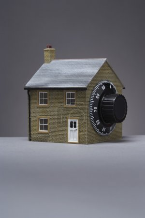 Model of house with combination lock