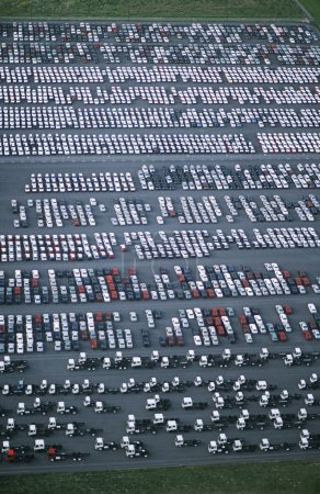 Cars and trucks parked