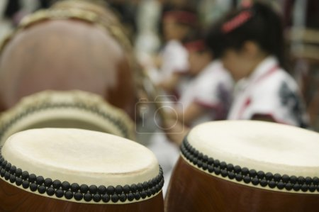 Taiko drumming close up