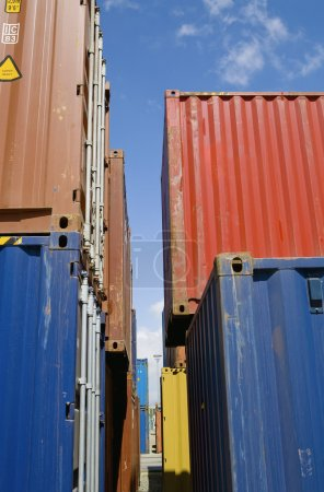 Stacked containers in seaport stockyard