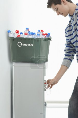 plastic bottles in Recycling container