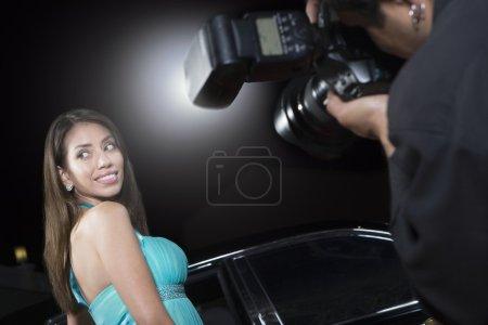 Célébrité féminine se faire photographie