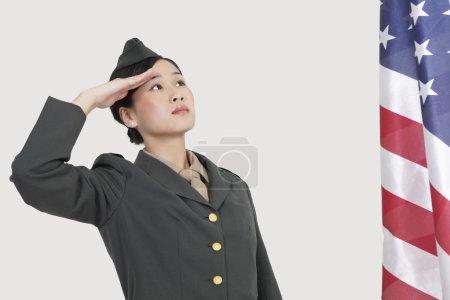 Female military officer saluting