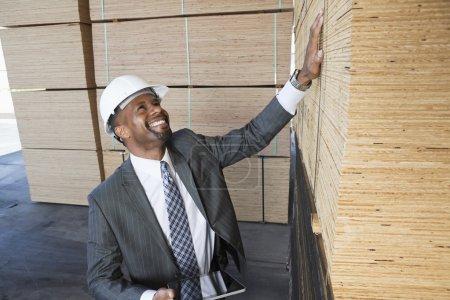 Happy African American contractor