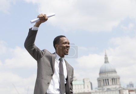 African American businessman celebrating