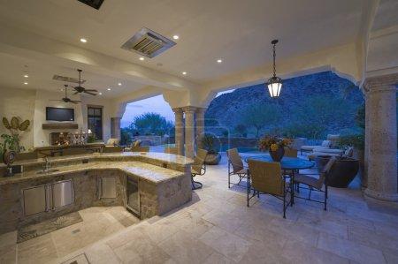 Sunken kitchen area of split