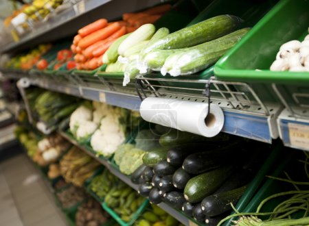 Fresh vegetables in grocery store