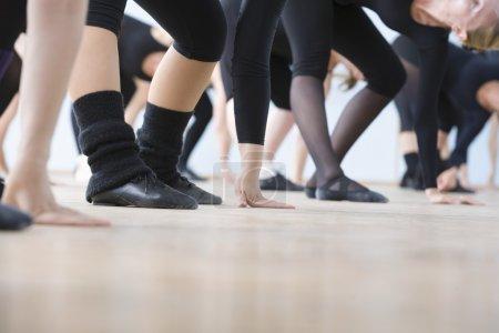 women practice ballet