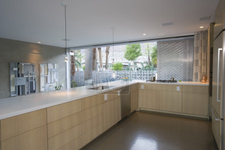 Open plan kitchen furnished