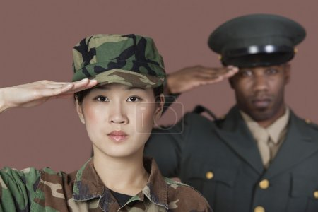Photo for Portrait of young female Marine Corps soldier and male officer saluting over brown background - Royalty Free Image
