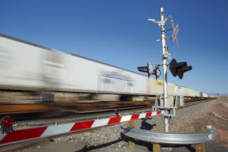 Train passing level crossing