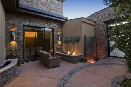 Patio furniture and lights