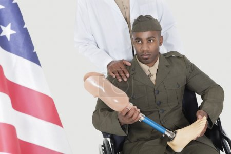 Doctor with disabled military officer