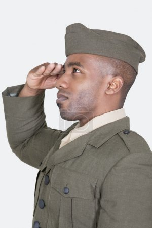 Male US soldier saluting