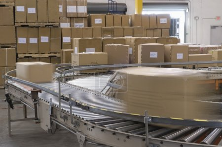 Boxes and conveyor belt
