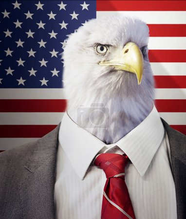 Photo for Head of an eagle on a businessman's body in front of American Stars and Stripes flag - Royalty Free Image