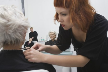 Photo for Stylist makes finishing touches to elderly woman's hair - Royalty Free Image