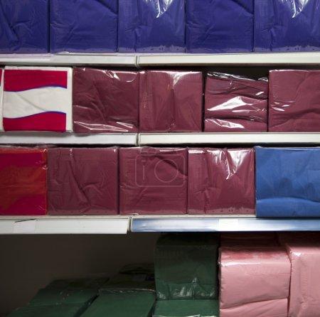 Multicolored tissues in supermarket