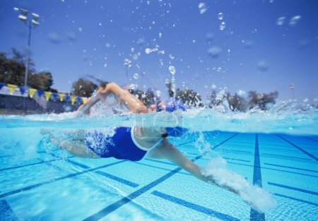 Photo for Professional female swimmer in swimsuit swimming in pool - Royalty Free Image