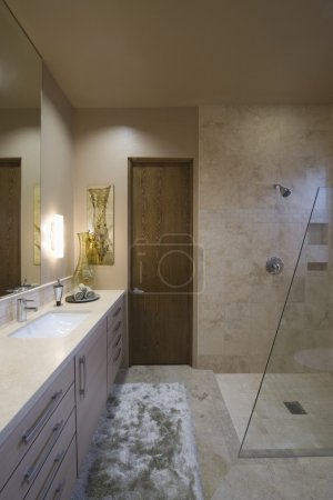 Lit bathroom with shower