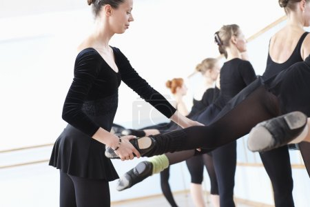 female dancers at barre with teacher