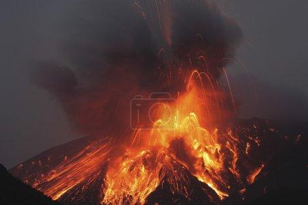Molten lava erupts