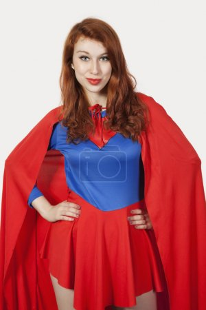 Woman in superhero costume