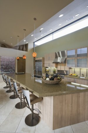 Kitchen worktop and barstools