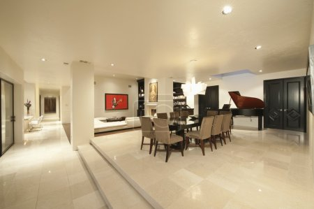 Living interior with grand piano