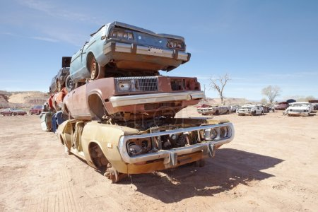 Old cars on dump