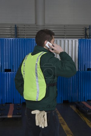 Man using telephone