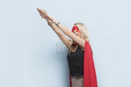 Woman pretending to leap