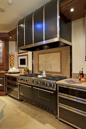 Stainless steel Stove cooker in kitchen