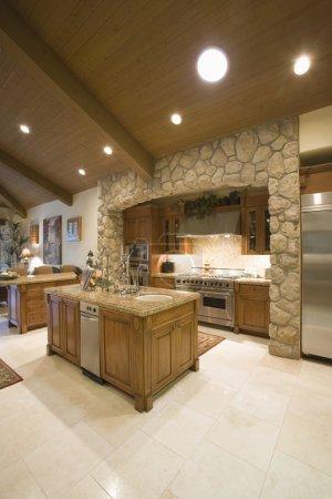 Exposed stone kitchen